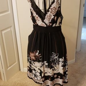 Connected Apparel Black floral sleeveless dress 16
